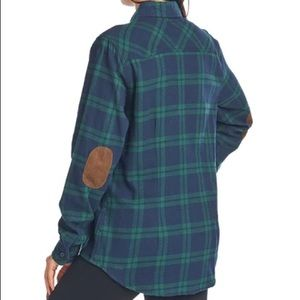 Ci Sono Plaid Button down shirt suede patch elbows